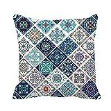 Pillow Case Hermoso Patrón De Mosaico Y Azulejos Portugueses Azulejo Talavera Marroquí Suave Almohadones Súper Funda Cojín Diseño Cojine Funda para Dormitorio Coche Hogar Sala
