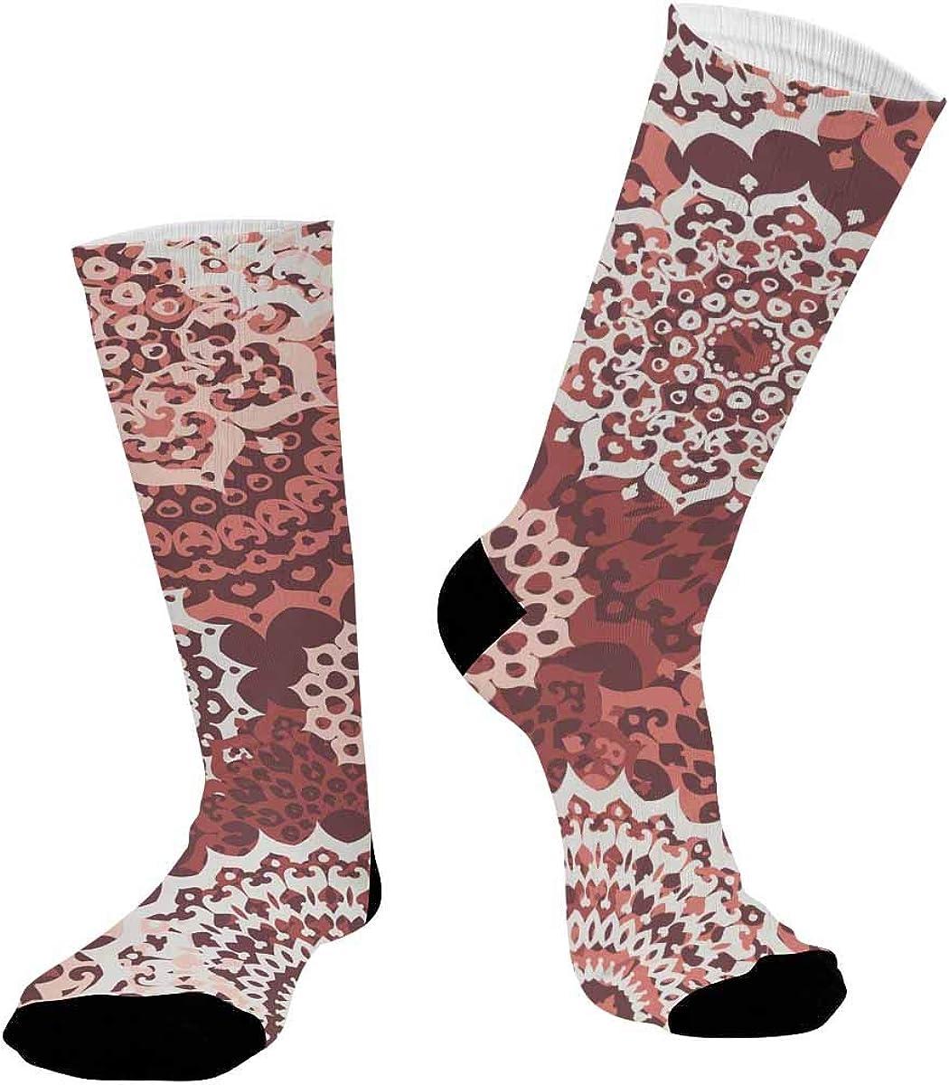 INTERESTPRINT Breathable Sublimated Crew Socks Outdoor Athletic Socks Oriental Mandalas
