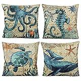 VAKADO Mediterranean Nautical Outdoor Throw Pillow Covers Beach Coastal Sea Turtle Octopus Whale Seahorse Cushion Cases Decorative Summer Ocean Decor for Couch Patio Furniture 18x18 Inch Set of 4