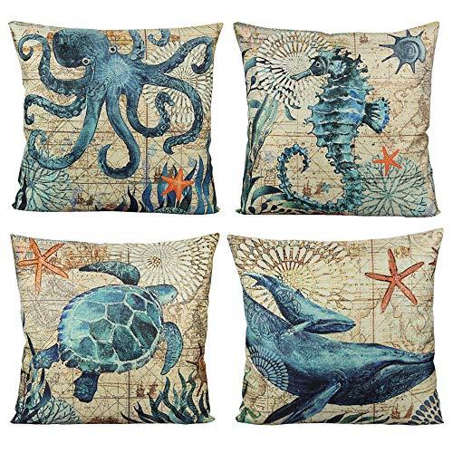 VAKADO Mediterranean Style Throw Pillow Covers Sea Theme Ocean Turtle Seahorse Whale Octopus Decorative Nautical Coastal Cushion Cases Decor for 18x18 Set of 4