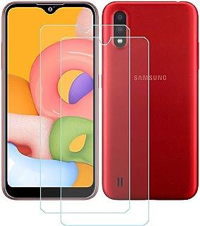 TTJ 2 stycken skottsäkert glas skyddsfolie för Samsung Galaxy M01S, 9H hårdhet härdat glas pansarglasfilm anti-rep/anti-fi...