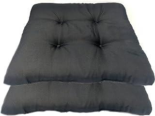 Euroxanty Lot de 2 coussins de chaise de qualité supérieure pour décoration intérieure Noir 40 x 40 x 4 cm