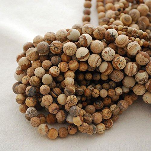 Perles rondes en jaspe naturel givré mat de qualité A - 10 mm