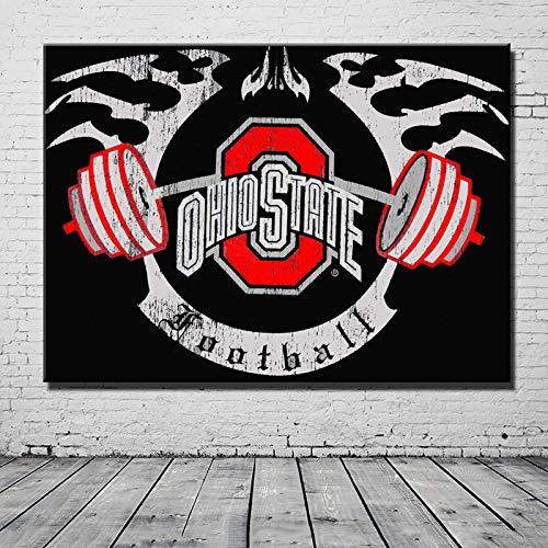 No frame canvas schilderij Ohio State Buckeyes voor muurschildering verwijderbare foto versiering achtergrond schilderij voor cadeau van vriend 60x80cm