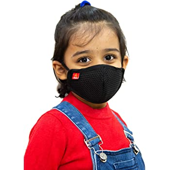 Toytle Anti-Pollution 4 Layer Cotton Washable and Reusable Mask for Kids (Black, 3 To 8 Years) Make In India Initiative, ISO 9001 and CE Certified Company