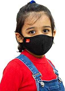 Toytle Anti-Pollution 4 Layer Cotton Washable And Reusable Mask For Kids (Black) Make In India Initiative (Pack of 1) Age- 3 To 8 Years, Buy From Seller mYnI For Authentic, ISO 9001 & CE Certified Company
