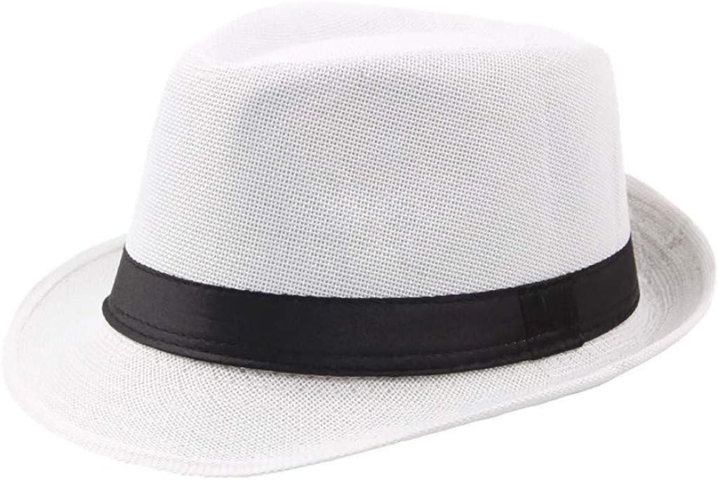 Panama Fedora Cap for Men Hat 1920s Vintage Classic Straw Sun with Belt