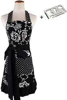 JIURUN Retro Aprons for Women, 50's Style Vintage Retro Black Classic Apron for Woman Girl (Classical Black)