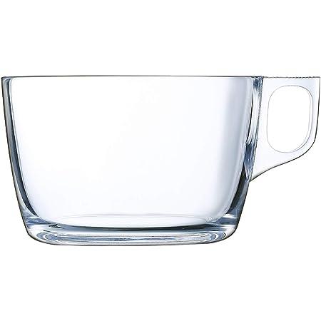 Luminarc Lot de 6 tasses à café avec poignée en verre pour micro-ondes 50 cl Noir