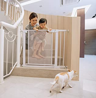 Aksel Baby Easy Close Metal Baby Pets Safety Gate, White, Mesh Steel