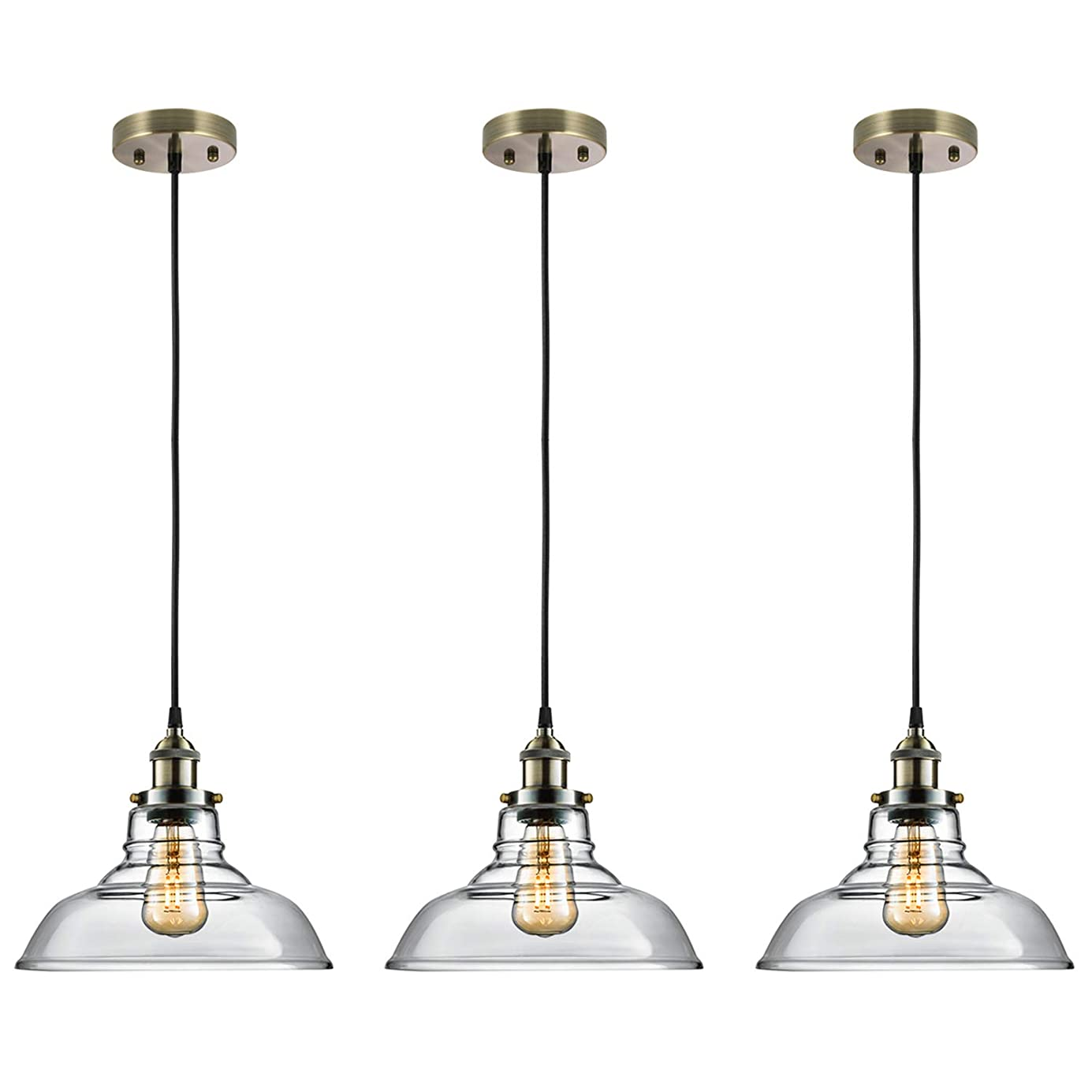 Salking Industrial Hanging Lamp, Vintage Edison Clear Glass Pendant Light, Adjustable Hanging Height(Fabric Cord), Antique Brass Brushed Antique Socket, Modern Vintage Farmhouse Kitchen Lamp, 3-Pack huczwi0110