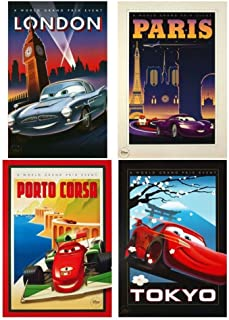 Disney Pixar Exclusive Limited Edition CARS 2 LITHOGRAPH SET of 4 - London Paris Tokyo Porto Corsa