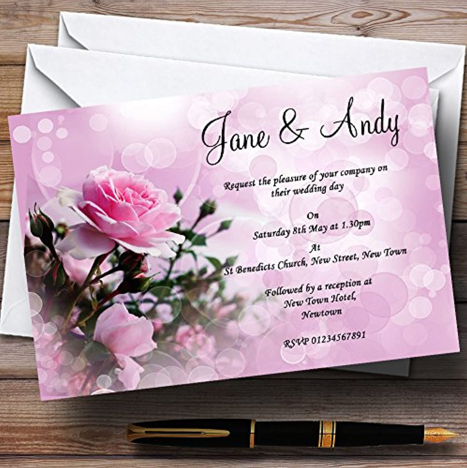 Pink pink Bubbles Personalised Evening Reception Invitations   Invites & Envelopes