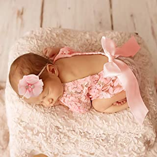 Yuehuam Newborn Baby Photography Props Outfits Girl Lace Romper + Headband Infant Bodysuit Pictures Clothing Monthly Photo...