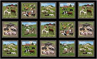 Elizabeth's Studio Farm Animals 24in Allover Panel Black Fabric