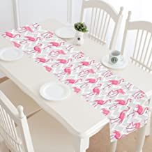 InterestPrint Tropical Pink Flamingos Animal with Grey Chevron Table Runner Linen & Cotton Cloth Placemat Home Decor for Kitchen Dining Wedding Party 16 x 72 Inches