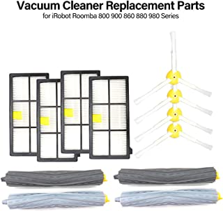 Lixada Vacuum Cleaner Replacement Part 4 Filter 4 Side Brush 2 Rolling Brush Accessory for iRobot Roomba 800 900 860 880 980 Series