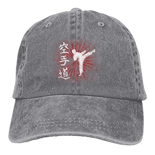 Hoswee Unisexo Gorras de béisbol/Sombrero, Karate Letter Denim Hat Adjustable Female Plain Baseball Cap