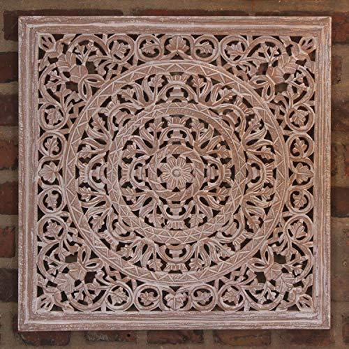 Orientalisches Holz Wandbild Mandala Maher 61x61 cm braun weiß im Shabby Chic Stil handgeschnitzte Wand-Dekoration aus MDF zum Hängen & Stellen | Kunsthandwerk | Fensterdeko & Weihnachtsdeko | MD2009