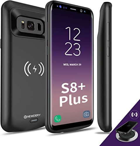 NEWDERY Upgraded Samsung Galaxy S8 Plus Battery Case Qi Wireless Charging Compatible, 5500mAh Slim Rechargeable Exten...
