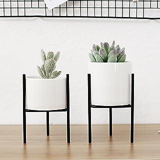 Soporte para macetas de hierro con jarrón de cerámica para interiores, para decoración del hogar o la oficina, negro M, M
