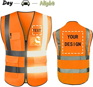 High Visibility Safety Vest Custom Your Logo Protective Workwear 5 Pockets With Reflective Strips Outdoor Work Vest (Orange (L))