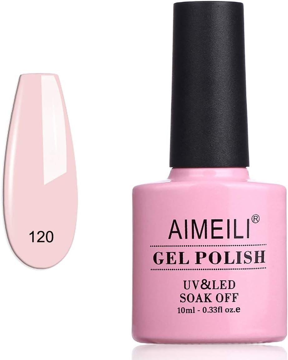 AIMEILI Esmalte Semipermanente De Uñas Soak Off UV LED Uñas De Gel - Rosa Xhybrida (120) 10ml