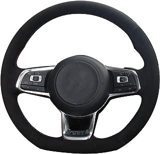 XuJi Suede Genuine Leather Steering Wheel Cover for 2015 2017 Volkswagen VW Jetta GLI / 2015-2017 Volkswagen VW Golf R / 2015-2017 Volkswagen VW Golf 7 MK7 GTI (Red and Blue Thread)