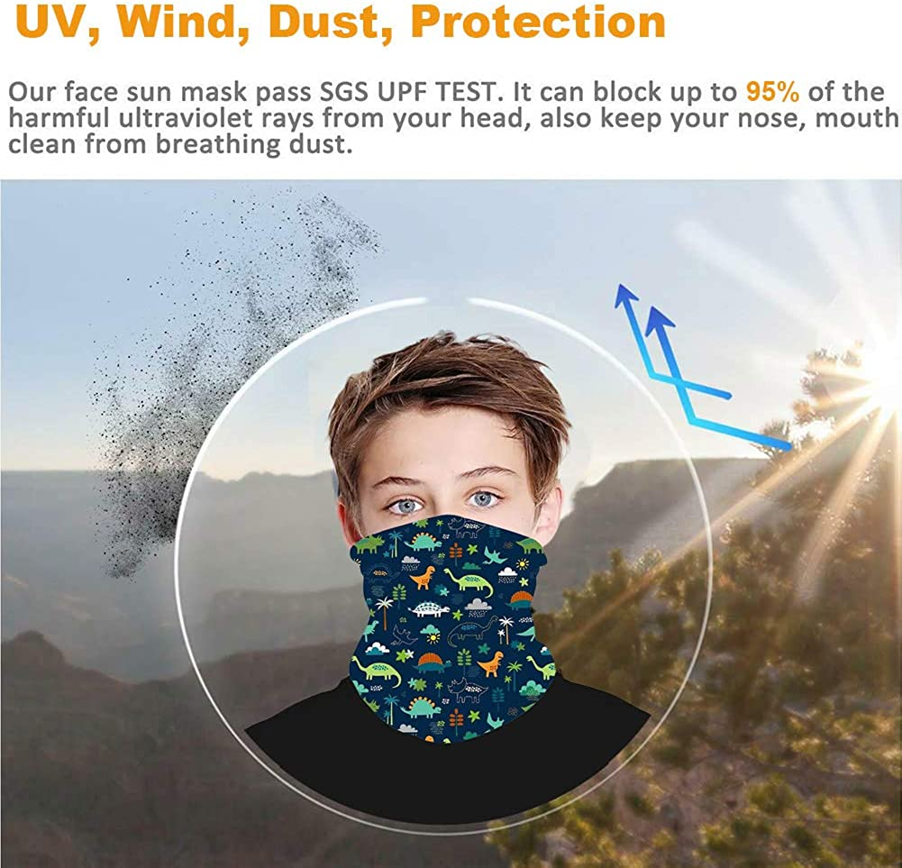 CHUANGLI Kids Bandana Face Mask Scarf with Ear Loops Neck Gaiter Mouth Cover Rave Balaclava for UV Dust Protection