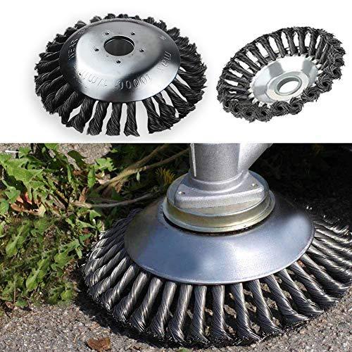 15 cm de diámetro. Cabezal de corte para cortacésped Cortador de onda recta de ajuste universal para máquinas de jardinería Comedores de hierba Cepillo de rueda de alambre de acero con nudo giratorio