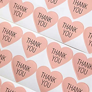 GANSSIA Heart Design Thank You Printed Gift Seal Sticker Color Pink Pack of 320 Pcs