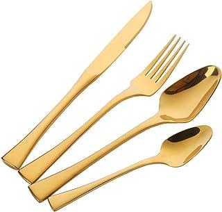 Couverts Or Vaisselle Acier inoxydable Coutellerie, Buyer Star Couteau et fourchette Set Luxe Haute qualité Cutlery Set