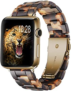 Wongeto Compatible Apple Watch Band Women Men- Fashion Resin iWatch Band Bracelet with Copper Stainless Steel Buckle for Apple Watch Series 5/4/3/2/1 (Rose Gold+Tortoise, 38mm/40mm)
