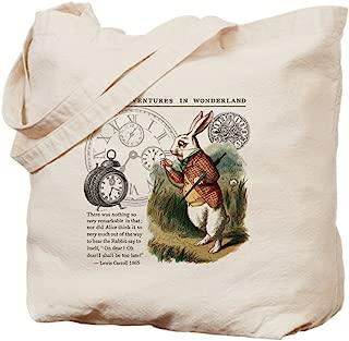 CafePress The White Rabbit Alice In Wonderland Tile Natural Canvas Tote Bag, Reusable Shopping Bag