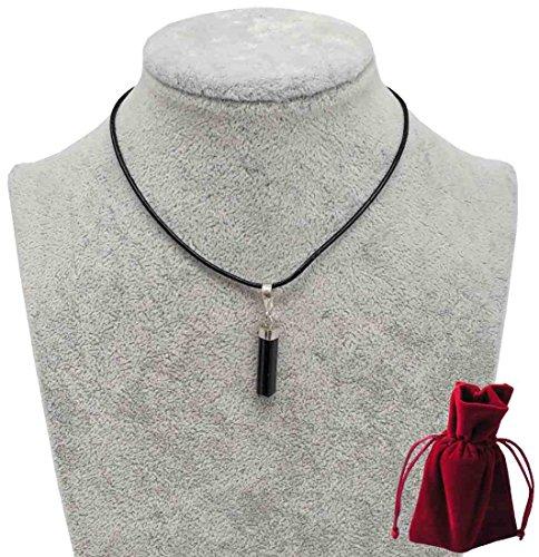 Turmalin Anhänger 2 bis 3 cm im Geschenkset mit Lederband, 925er Silberkappe, Edelstein Anhänger mit Halskette Leder