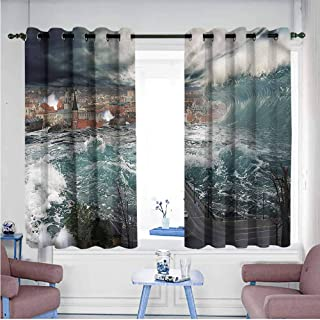 VIVIDX Living Room/Bedroom Window Curtains,Landscape,Kaunas Lithuania Europe,Insulated with Grommet Curtains for Bedroom,W55x39L