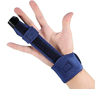Finger Splint for Arthritis Broken Trigger Mallet Injury Wound - Adjustable Fixing Belt with Built-in Aluminium - Thumb Brace Fits Middle Index Ring All Fingers (Blue)