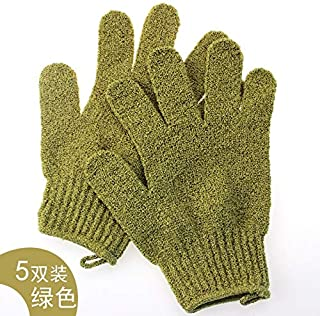Household Bathing Gloves Five Fingers Double Scrub Adult Exfoliating Gloves,5 Pairs Protection (Color : Green)