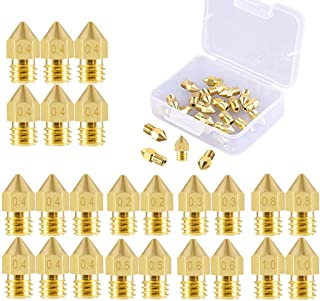 3D Printer Nozzle 24 Pieces Brass Extruder Nozzle Print Head 0.2mm, 0.3mm, 0.4mm, 0.5mm, 0.6mm, 0.8mm, 1.0mm Compatible with MK8 Makerbot Creality CR-10 M6 thread 3D printer, Come with a Storage Box