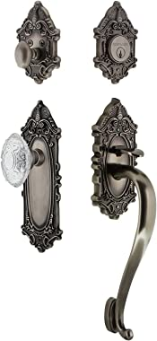 "Nostalgic Warehouse 756049 Plate S Grip Entry Set Crystal Victorian Knob, 2.75"" Backset, Antique Pewter"