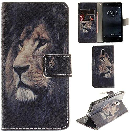 Ooboom® Nokia 8 Custodia Flip Cover in Pelle PU Cuoio Case Portafoglio Supporto con Carte di Credito e Porta per Nokia 8 - Tigre Bianco