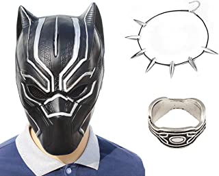 3Pack New Black Panther Movie Mask Halloween Costume with Necklace and Ring