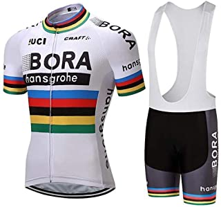 Pro Team Bora Cycling Jersey Team Uniform Classic White Jersey and Shorts Set Gel Padded and Breathable Cycling Suit