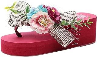 THE LONDON STORE Women's Multi-Color Flower EVA Platform Slippers Wedge Heels Sandals Red