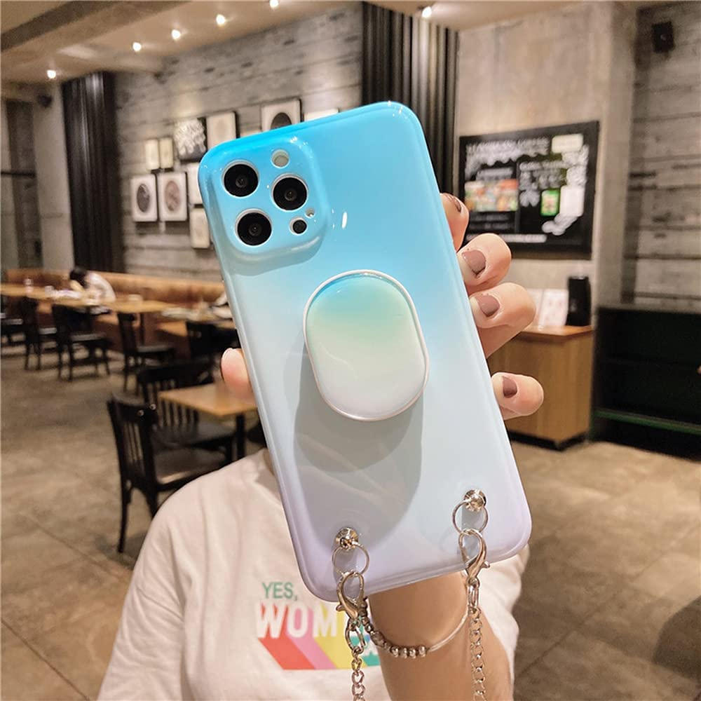 LUVI for iPhone 12 Pro Max Case with Stand Kickstand Crossbody Neck Strap Lanyard Chain for Women Girly Wrist Strap Colorful Design Silicone Protection Cover for iPhone 12 Pro Max Teal