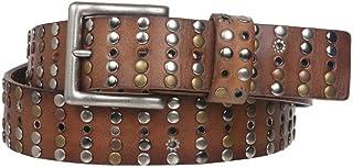 "1 1/2"" Cowhide Multi Metal Circle Studded Vintage Oil Tanned Leather Belt"