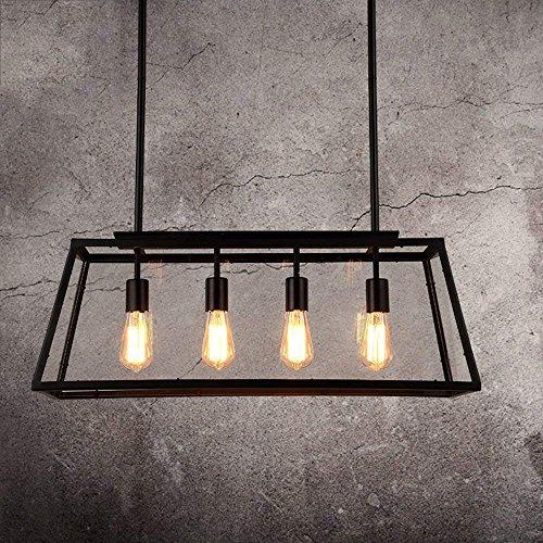 WYZXR Candelabros industriales Hierro Creativo Personalidad Caja de Vidrio cuboide Candelabros Restaurante Cocina Isla Cuatro Fuente de luz Edison Lámpara Colgante