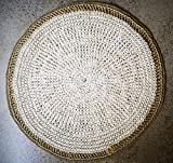 Con&Sal Alfombra artesana Redonda,de Yute y trapillo. Más de 780 Nudos Dobles decoración Tendencias bohochic rústico diseño Exclusivo 80 cm de diámetro Aprox.Regalos Originales.