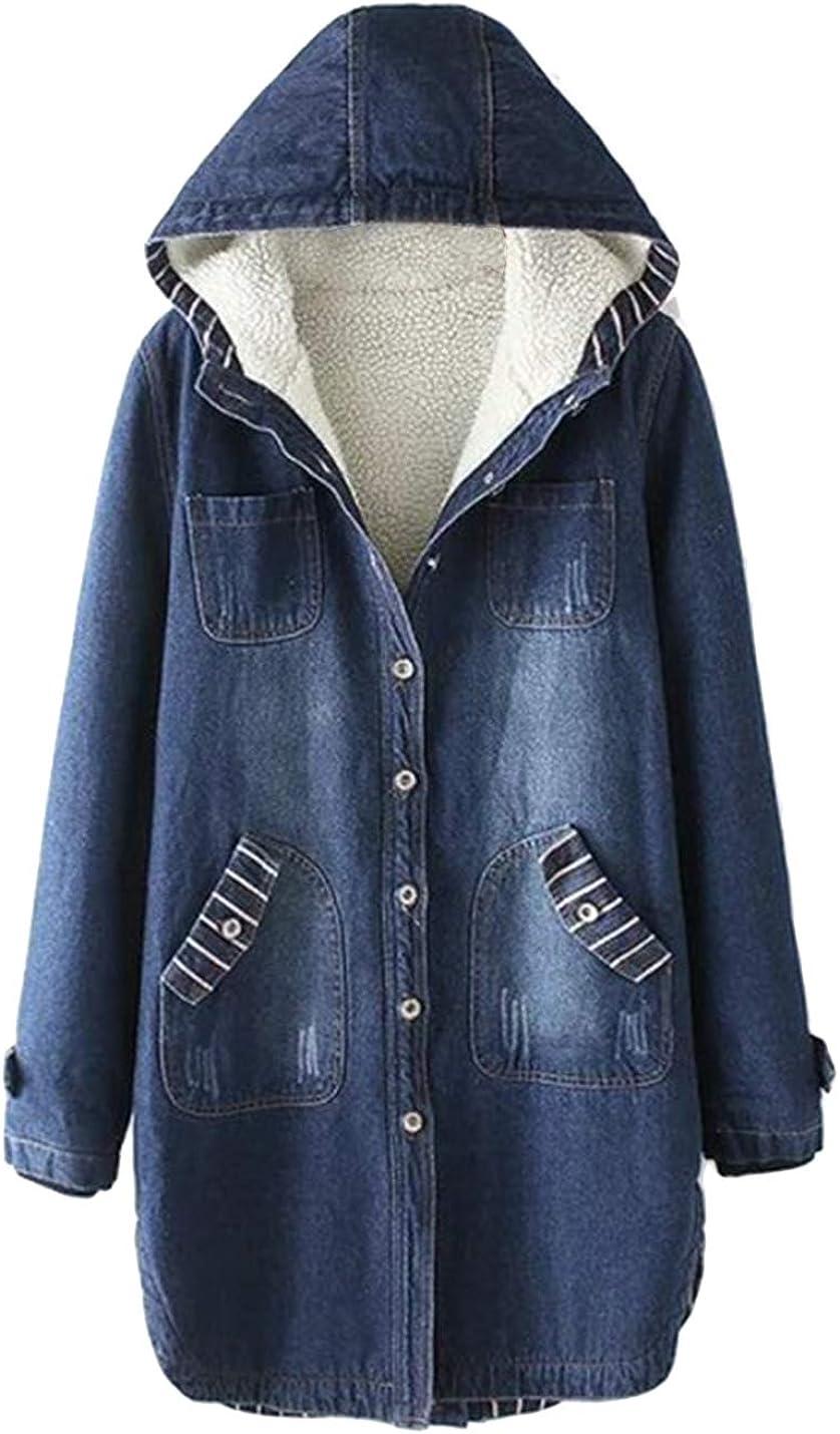 Lentta Dallas Mall Women's Mid Long Thick Fleece Jean favorite Denim Sherpa Jac Lined
