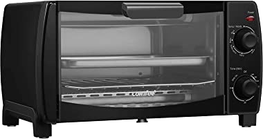 COMFEE' Toaster Oven Countertop, 4-Slice, Compact Size, Easy to Control with Timer-Bake-Broil-Toast Setting, 1000W, Black